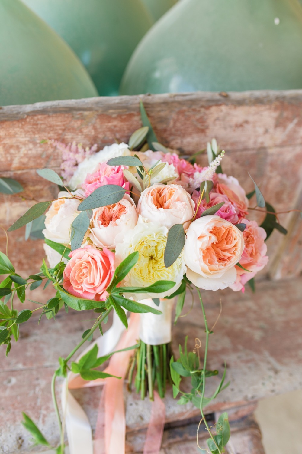 blush pink and white wedding bouquet