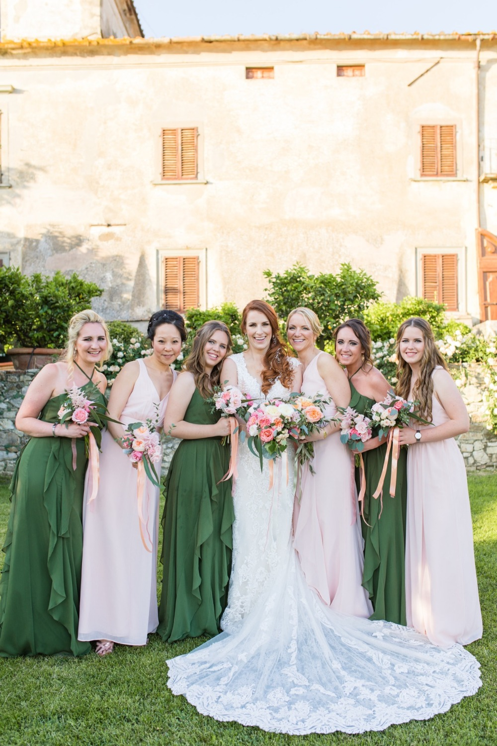 bridesmaids in olive and blush dresses