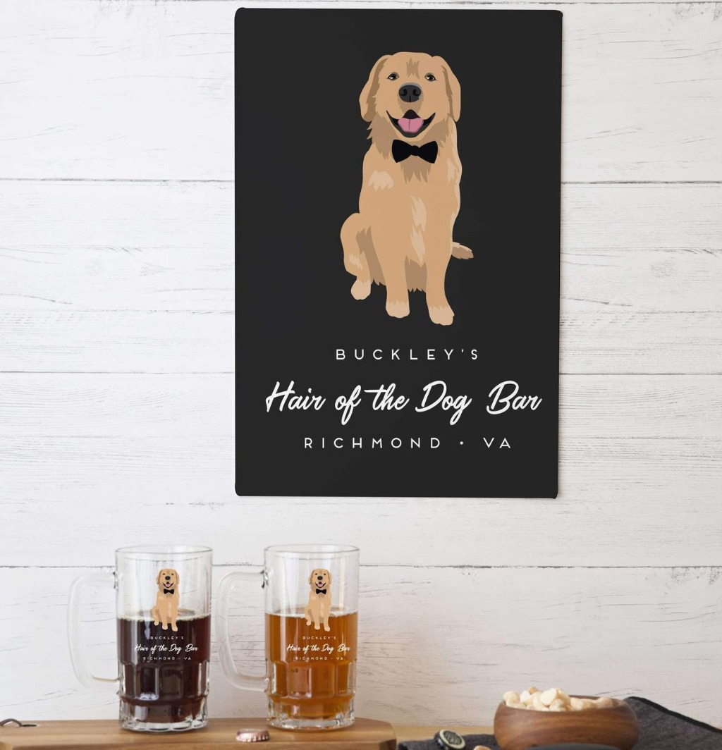 This Pet Portrait Aluminum Sign from Miss Design Berry is perfect to hang over your bar at home!! If you have any friends who are into