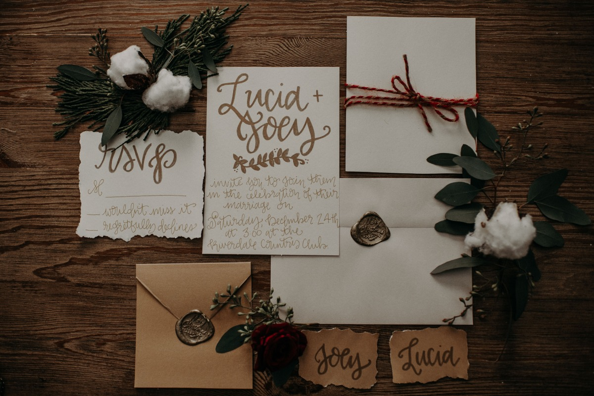 cozy calligraphy wedding invitation suite