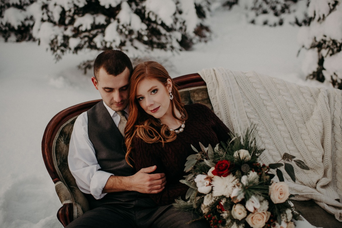 cozy winter wedding couple
