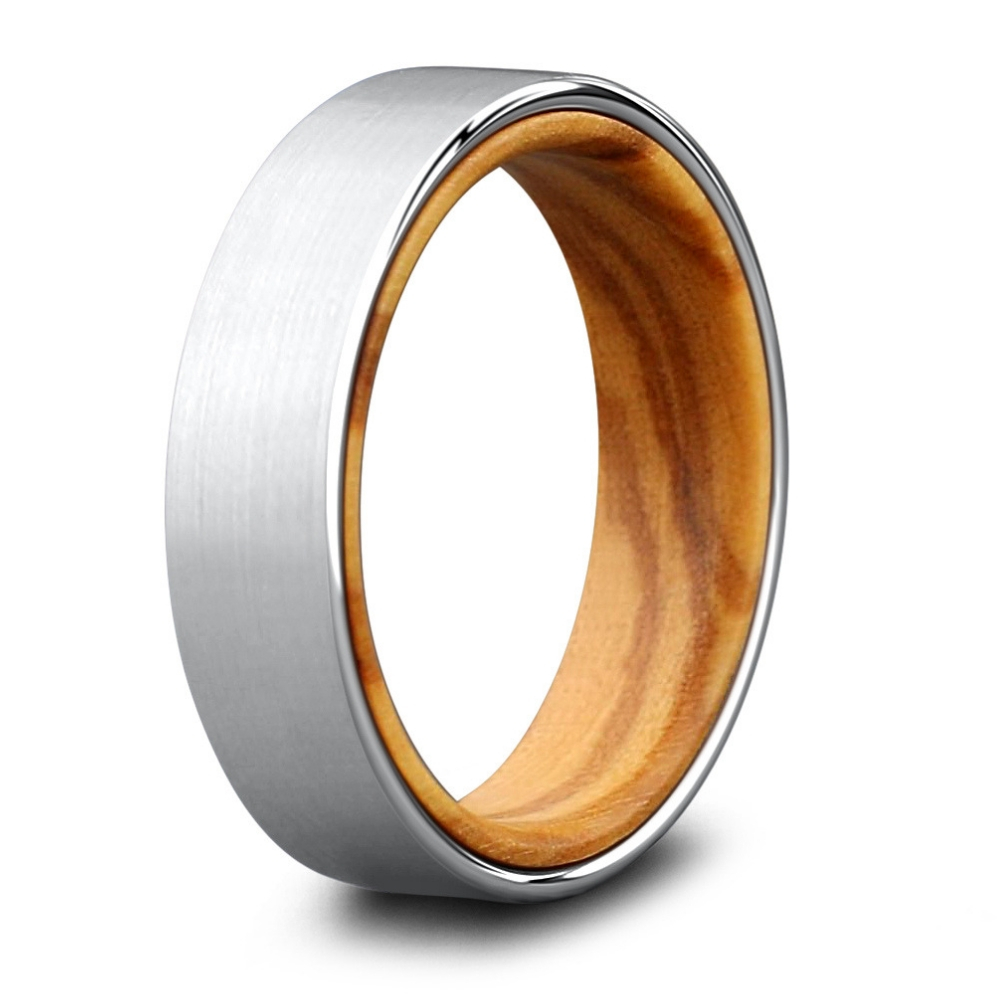 Men's tungsten and wood ring. A combination of natural wood and tungsten. The ultra smooth natural wood makes it one of the most comfortable