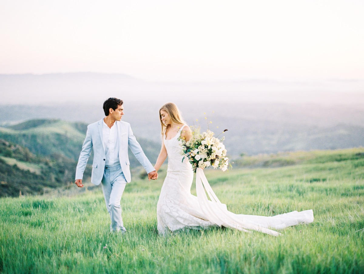 sweet wedding couple in the California hills