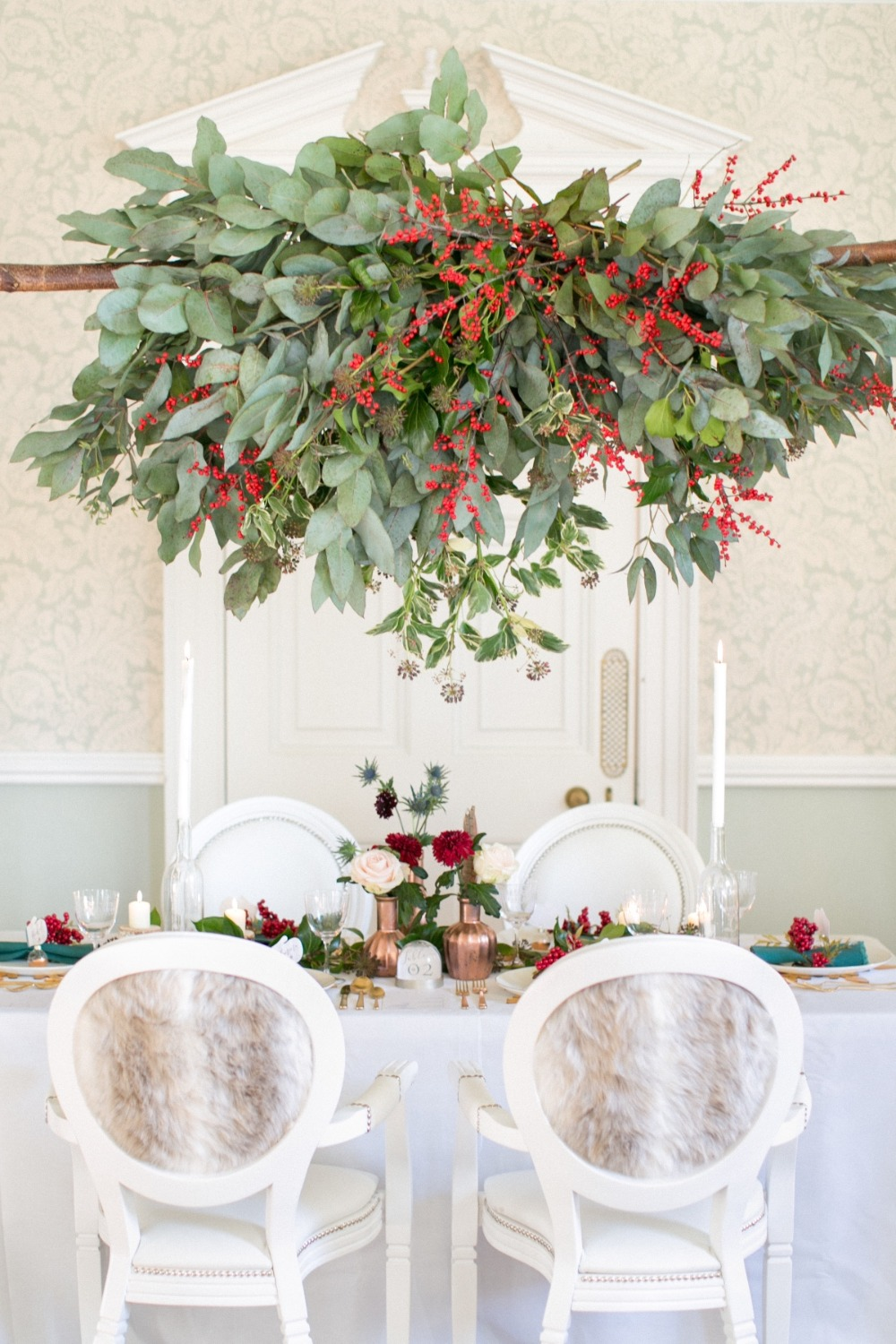 Winter reception with greenery