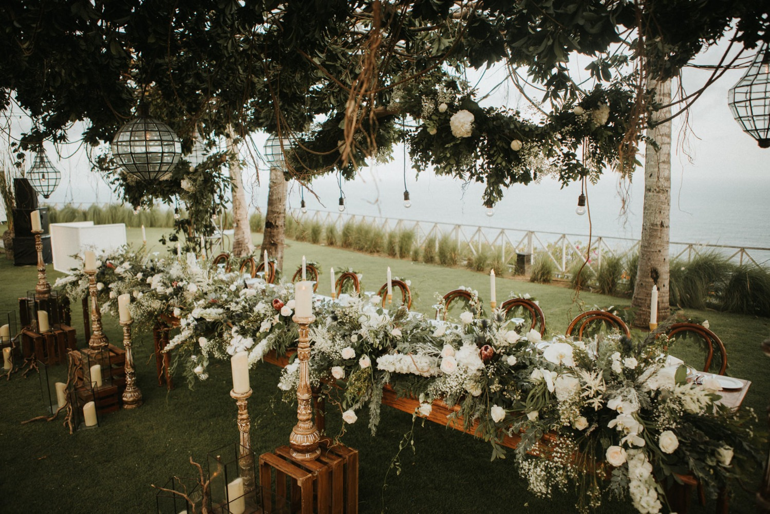 romantic wedding party table in Bali