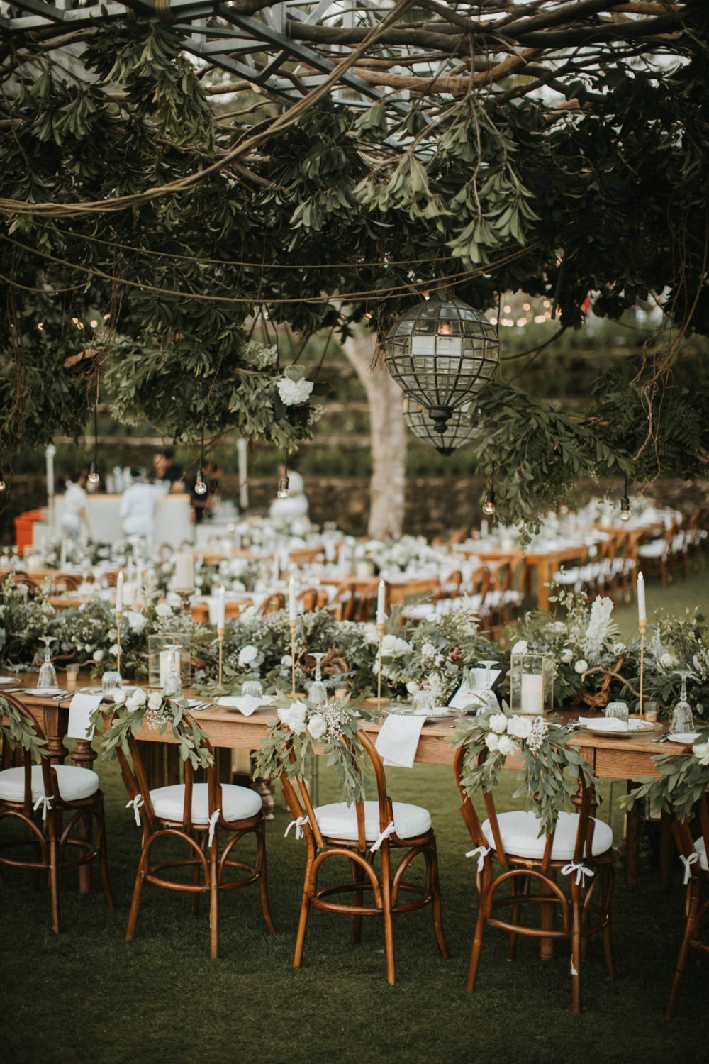 romantic tropical outdoor wedding reception decor