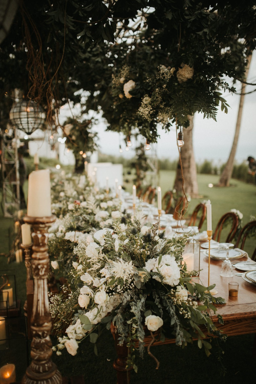 floating floral decor for wedding party table