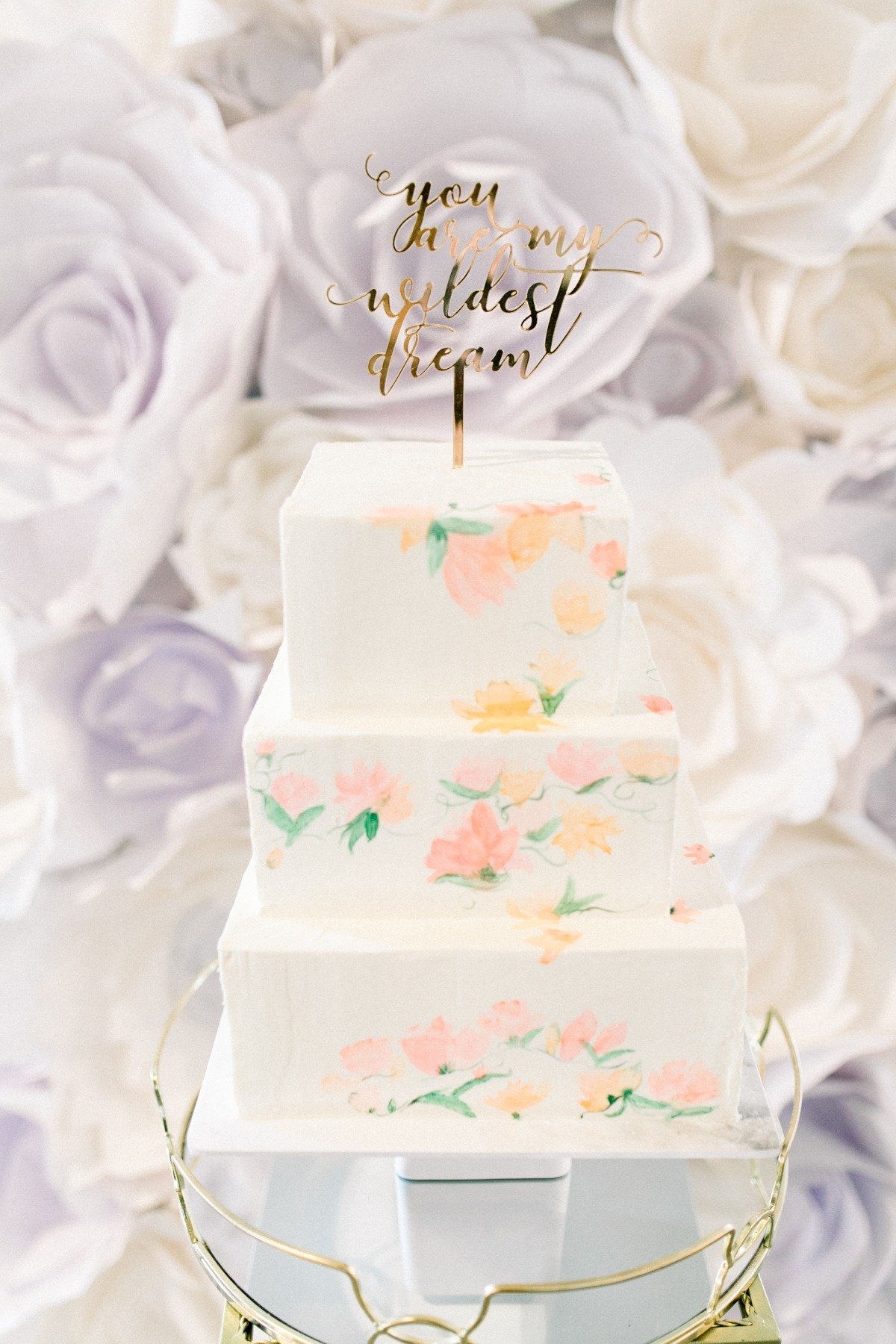 Floral watercolor cake