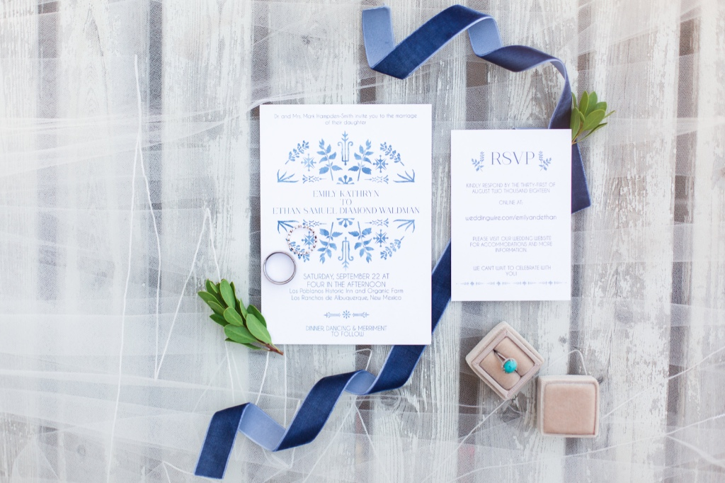 Need something Blue? Our Painted Floral Wedding Invitation Suite is perfect for your winter nuptials!