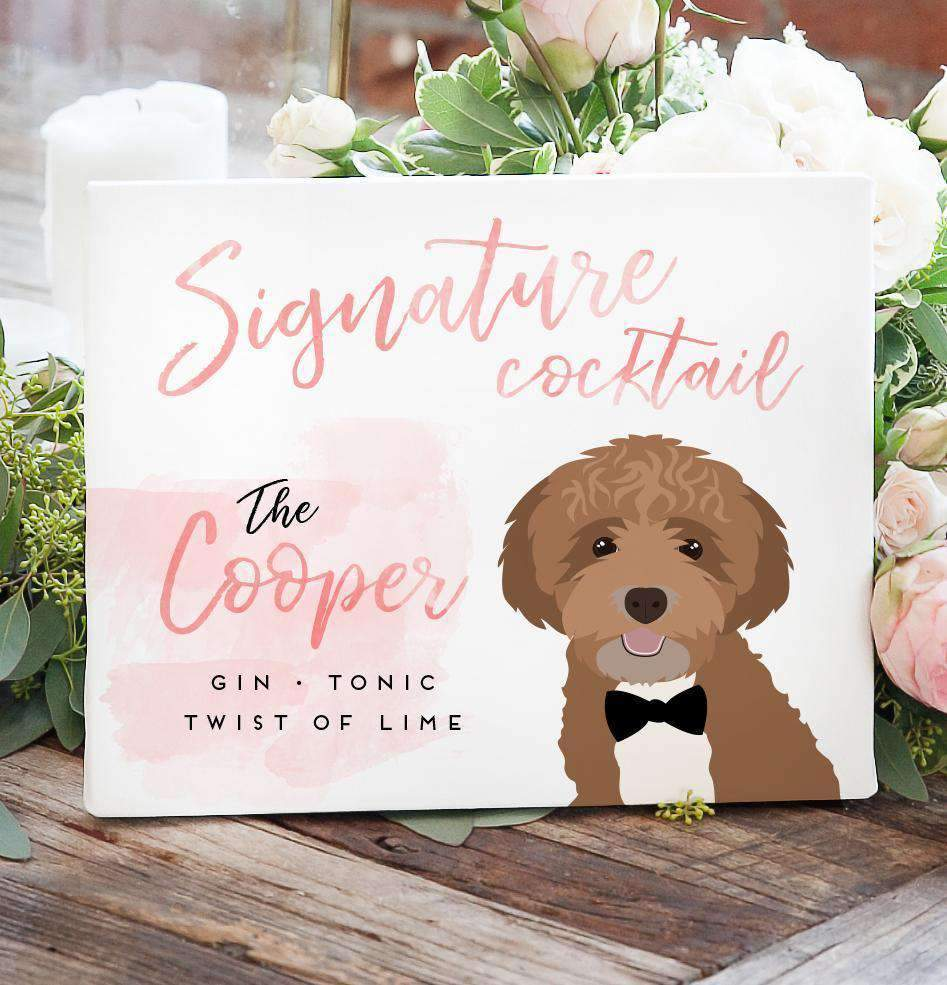 This Watercolor Signature Cocktail Sign with Pet Portrait is the perfect compliment to our other watercolor guest book alternatives