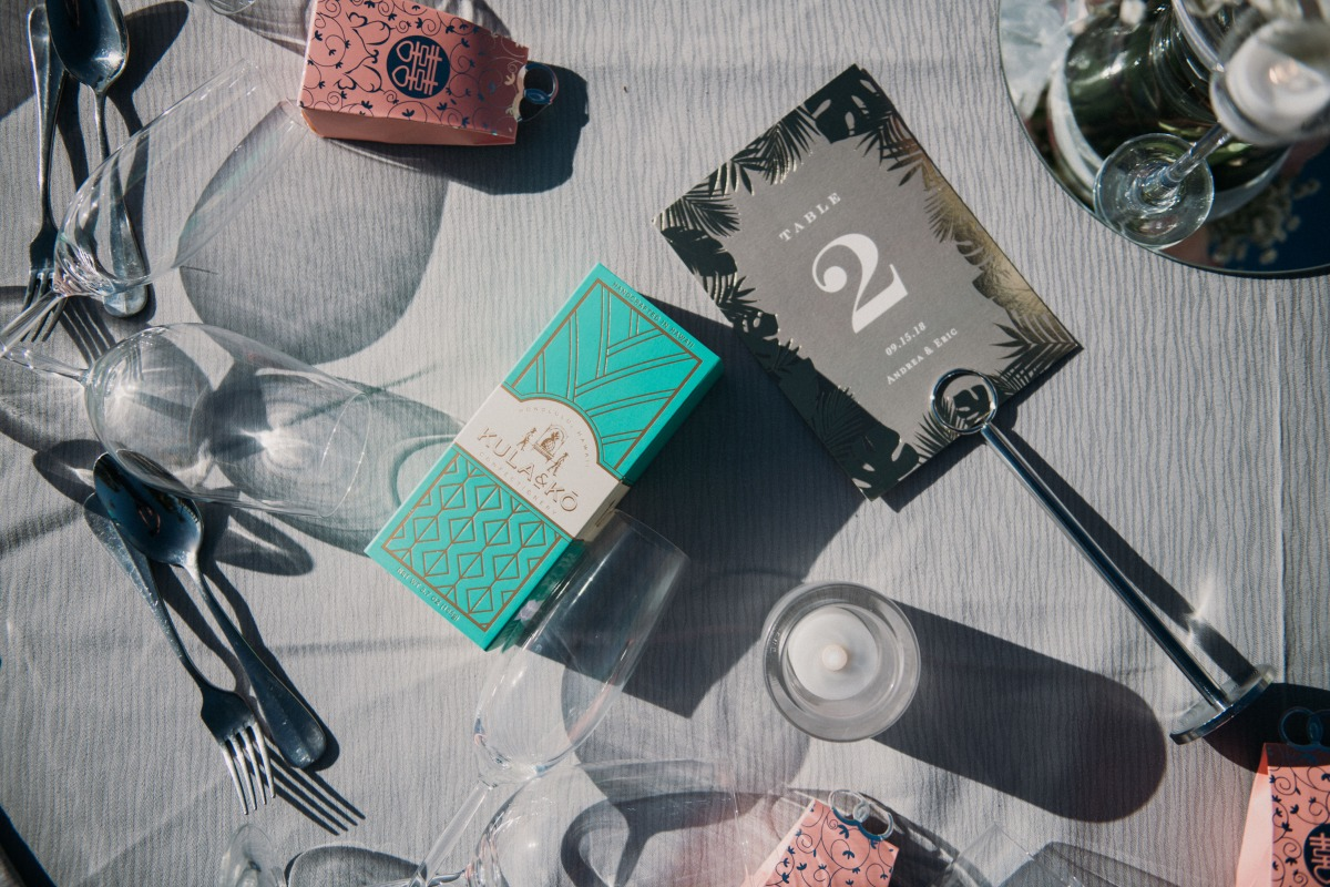 wedding favors and table number