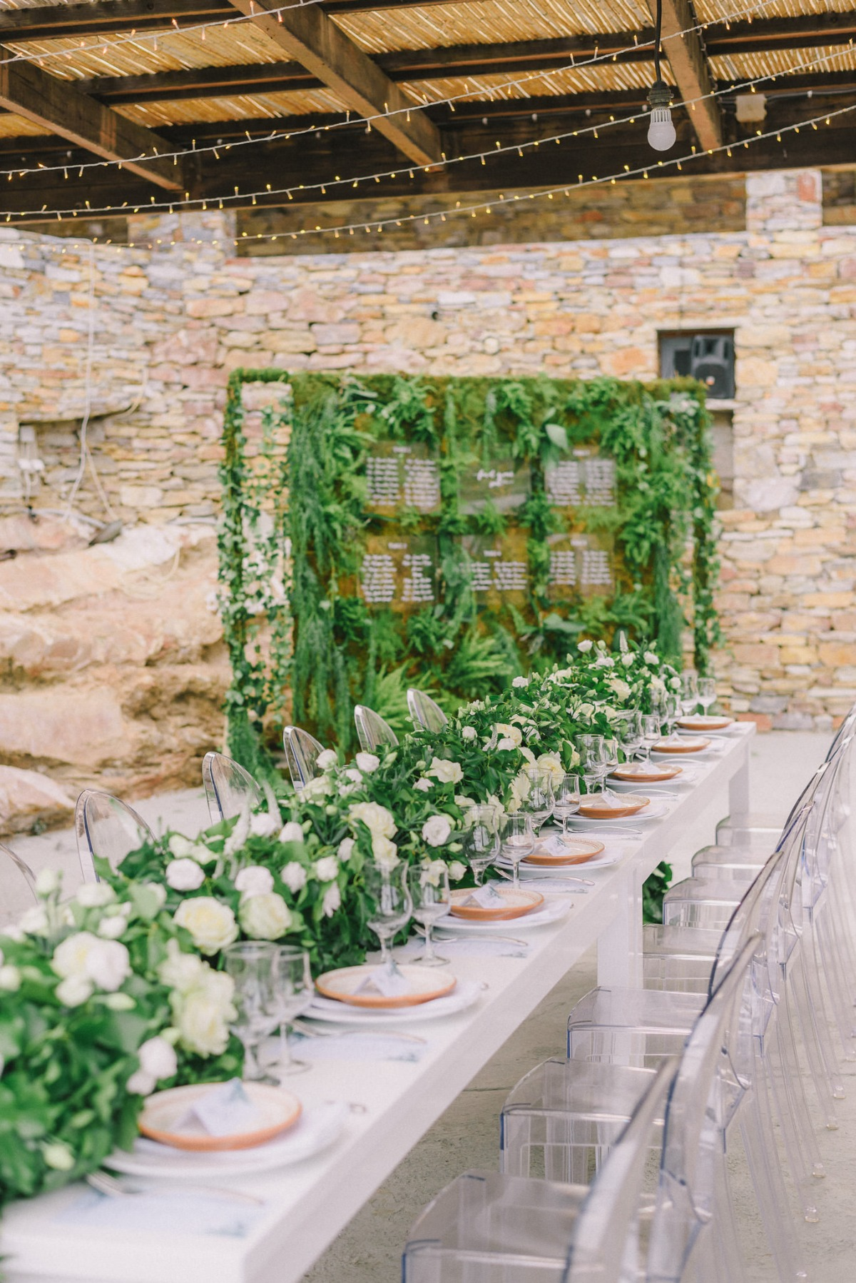 Greenery reception decor