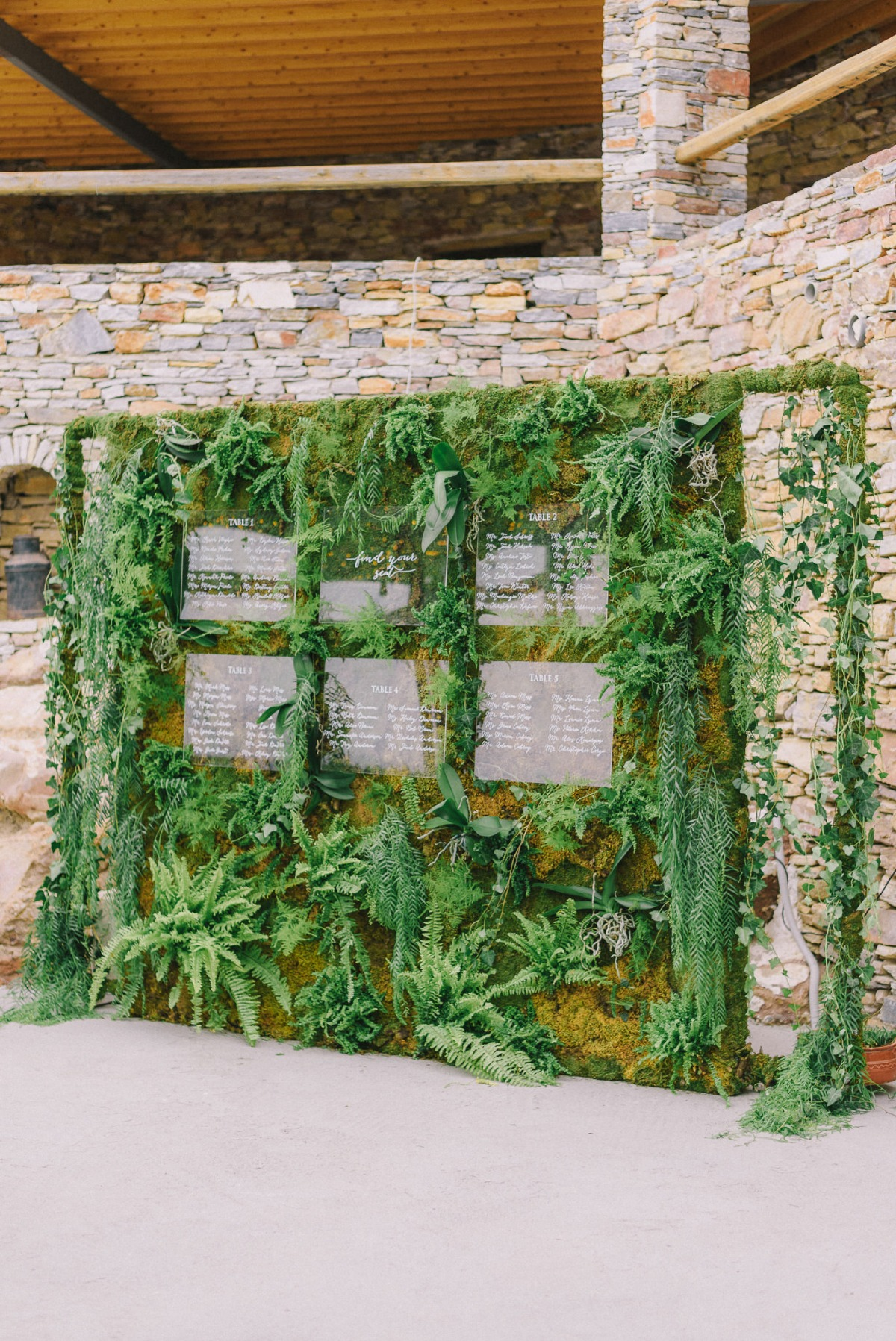 Greenery wall seating chart