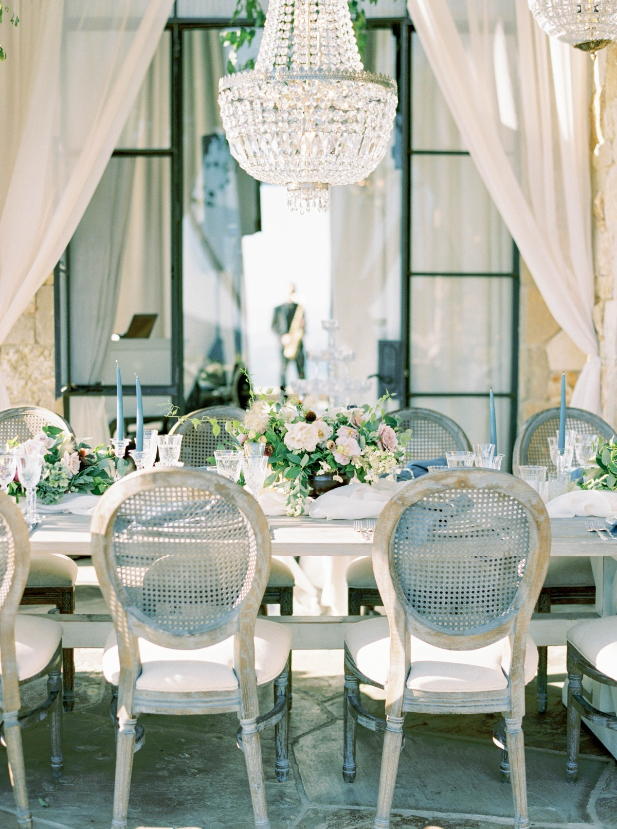 soft blue and neutral wedding decor