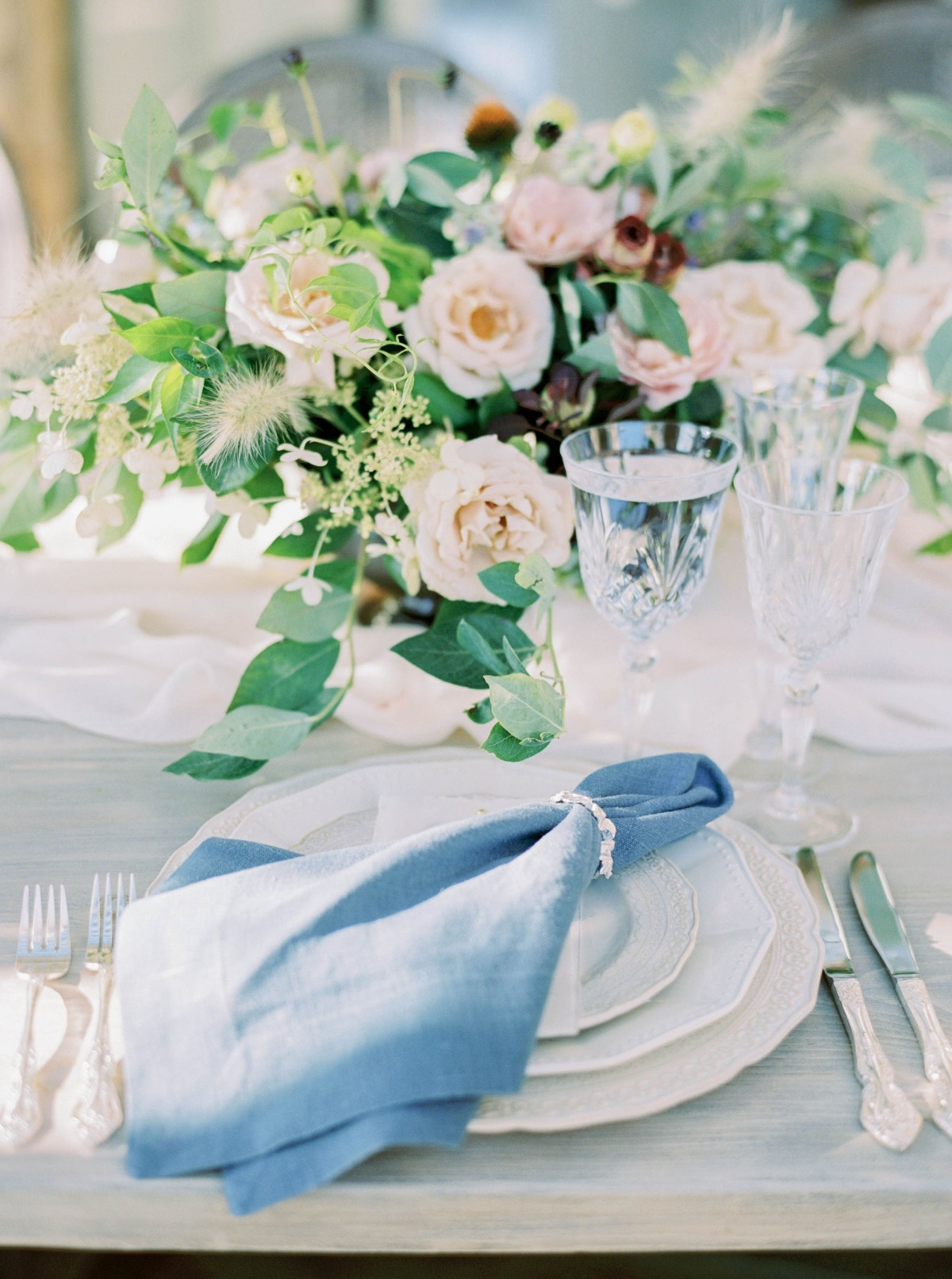blue and white wedding place setting
