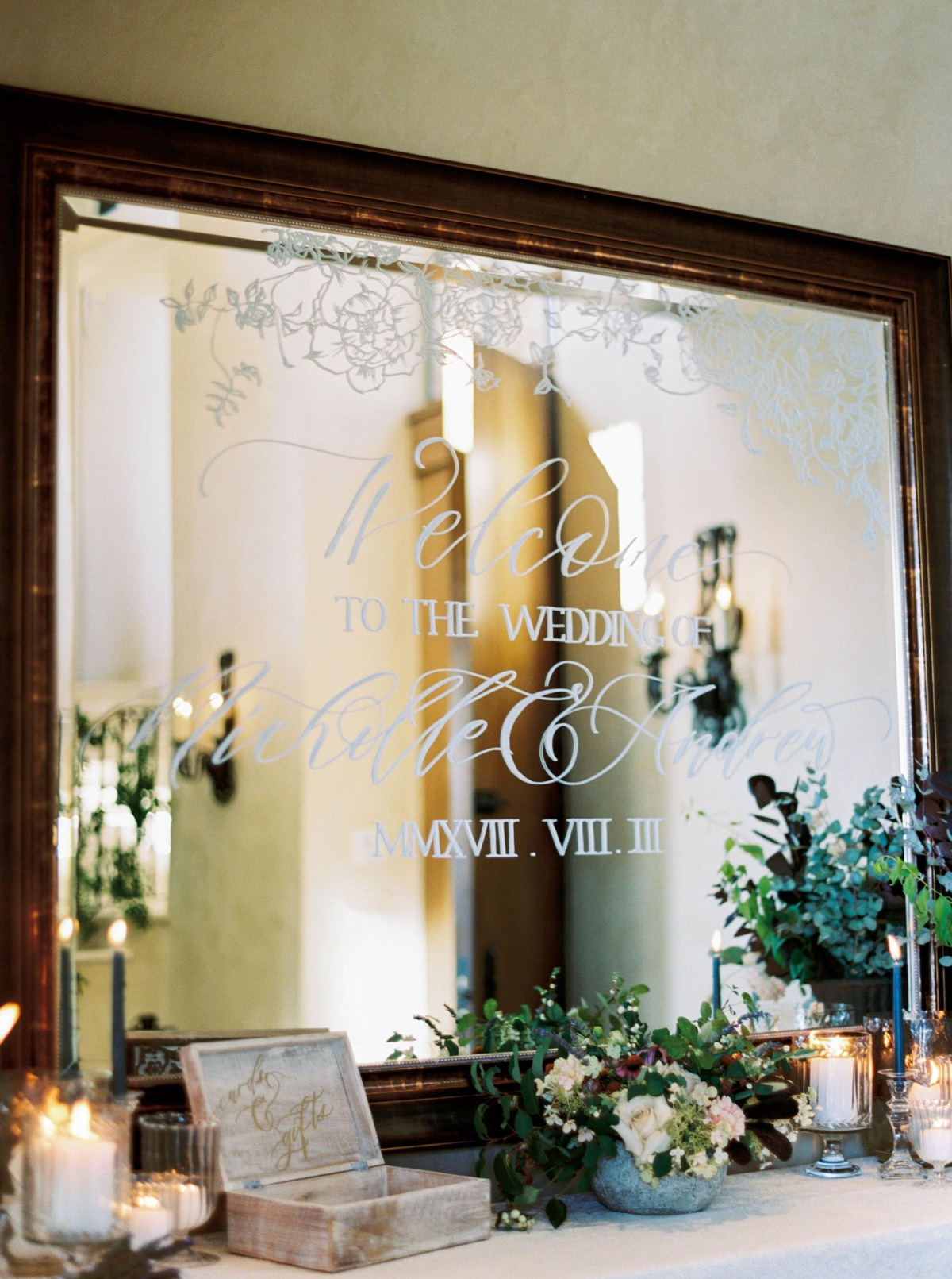 etched wedding mirror sign
