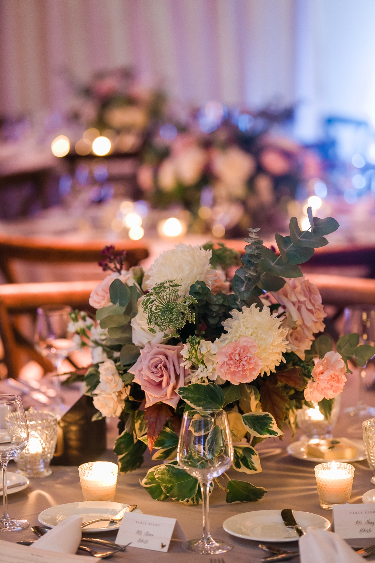 pink and white wedding floral centerpiece