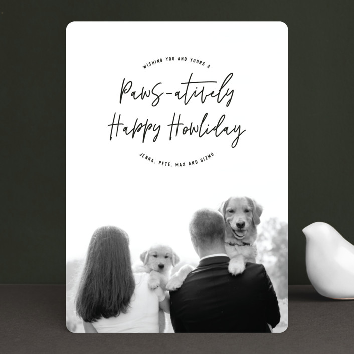 Minted Holiday Card with Couple and their Dogs