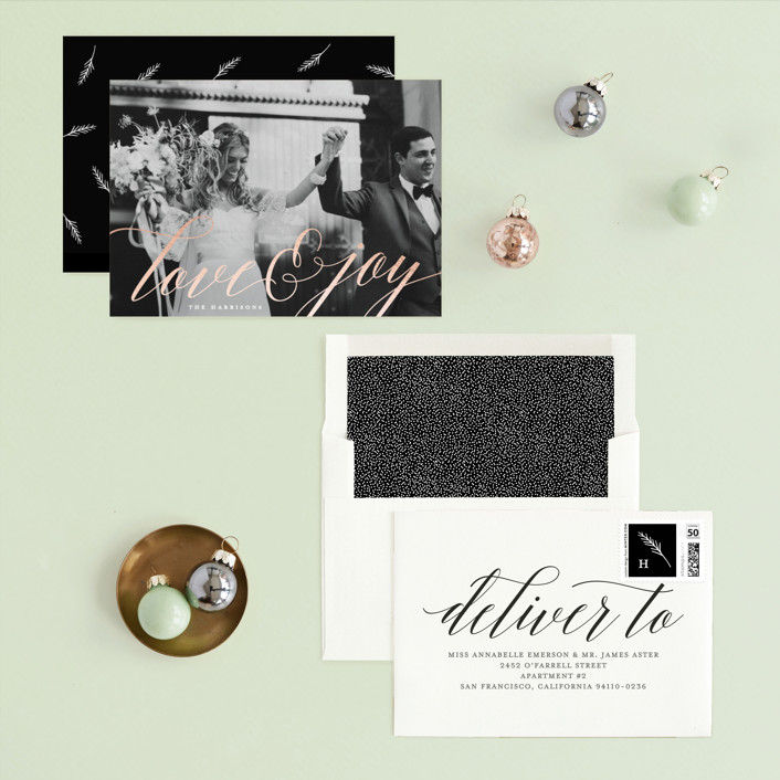 Minted Love and Joy Holiday Card