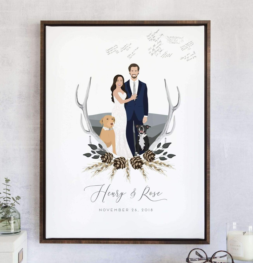 This wonderful Fall Wedding Guest Book Alternative with Couple Portrait is good for any time of the year, especially if you love antlers