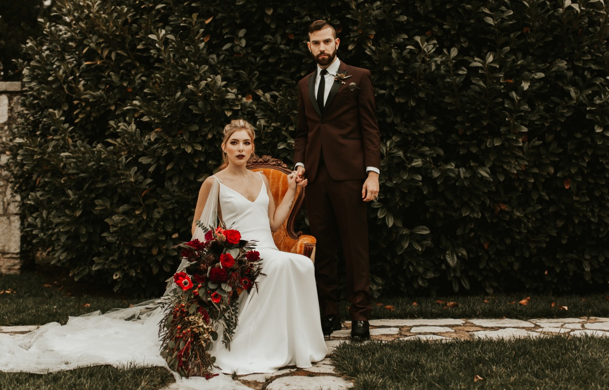 moody fall wedding portraits