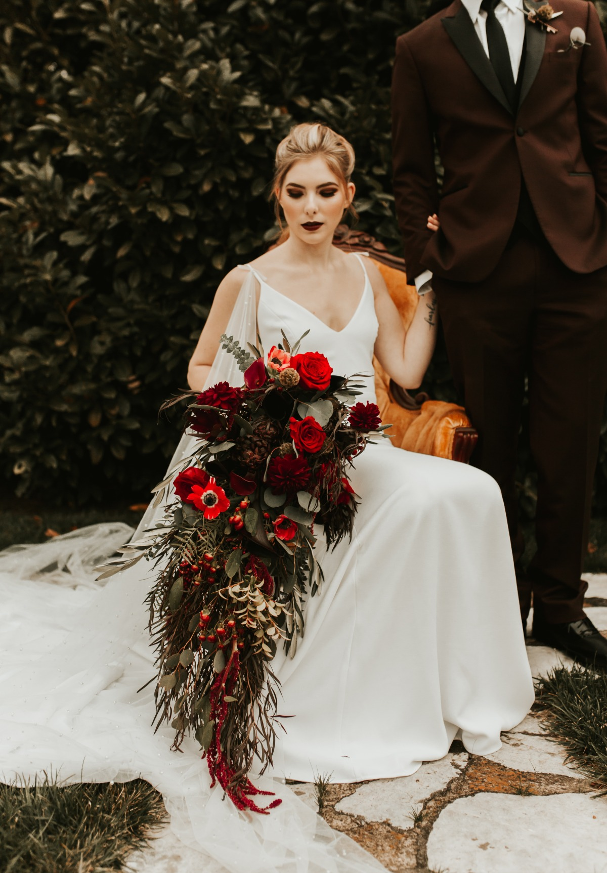 cascading fall inspired wedding bouquet
