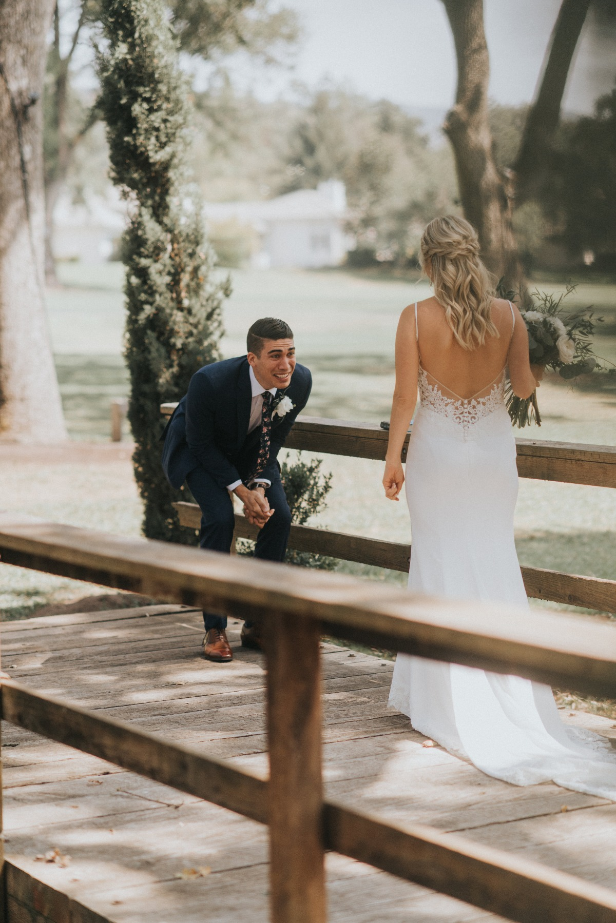 sweet candid wedding couple first look