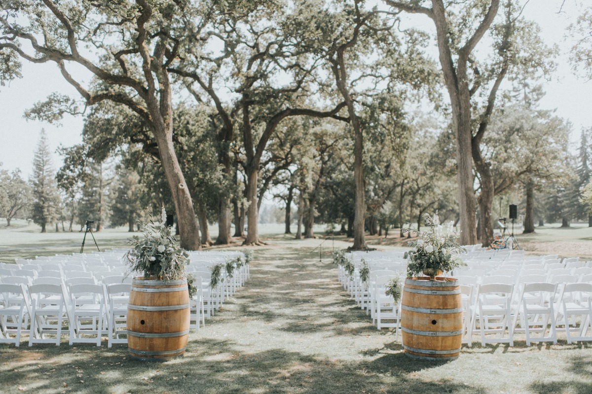 soft white and green wedding ceremony