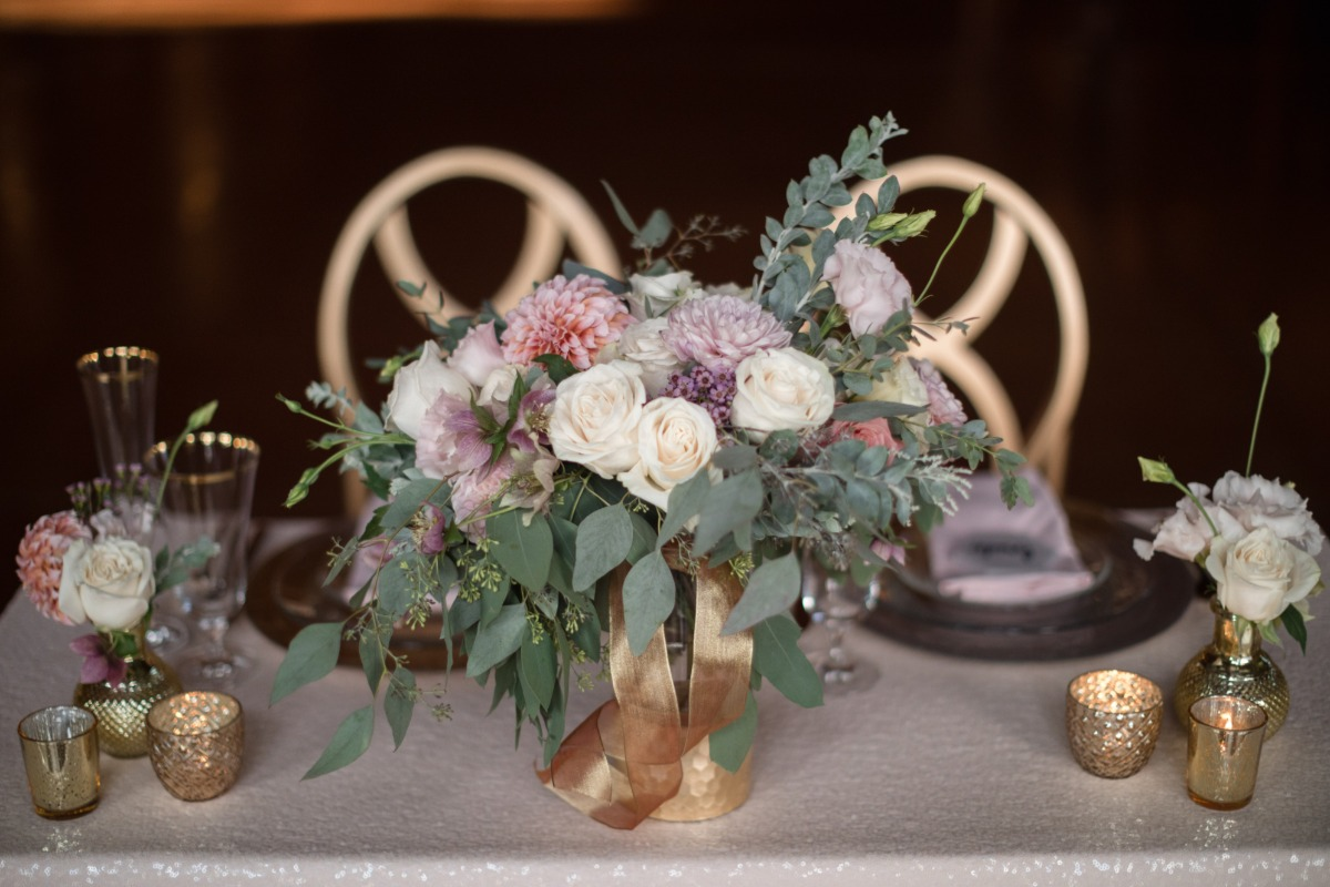 blush and purple wedding florals