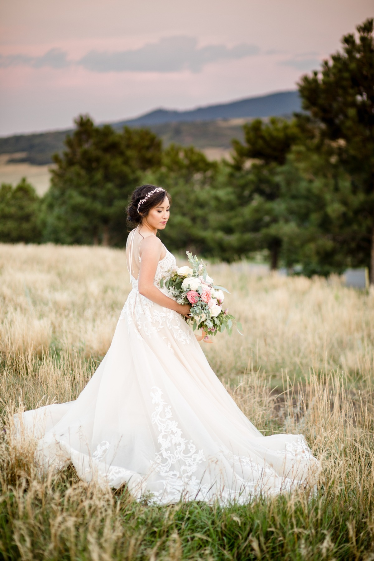 bride in champagne colored wedding gown