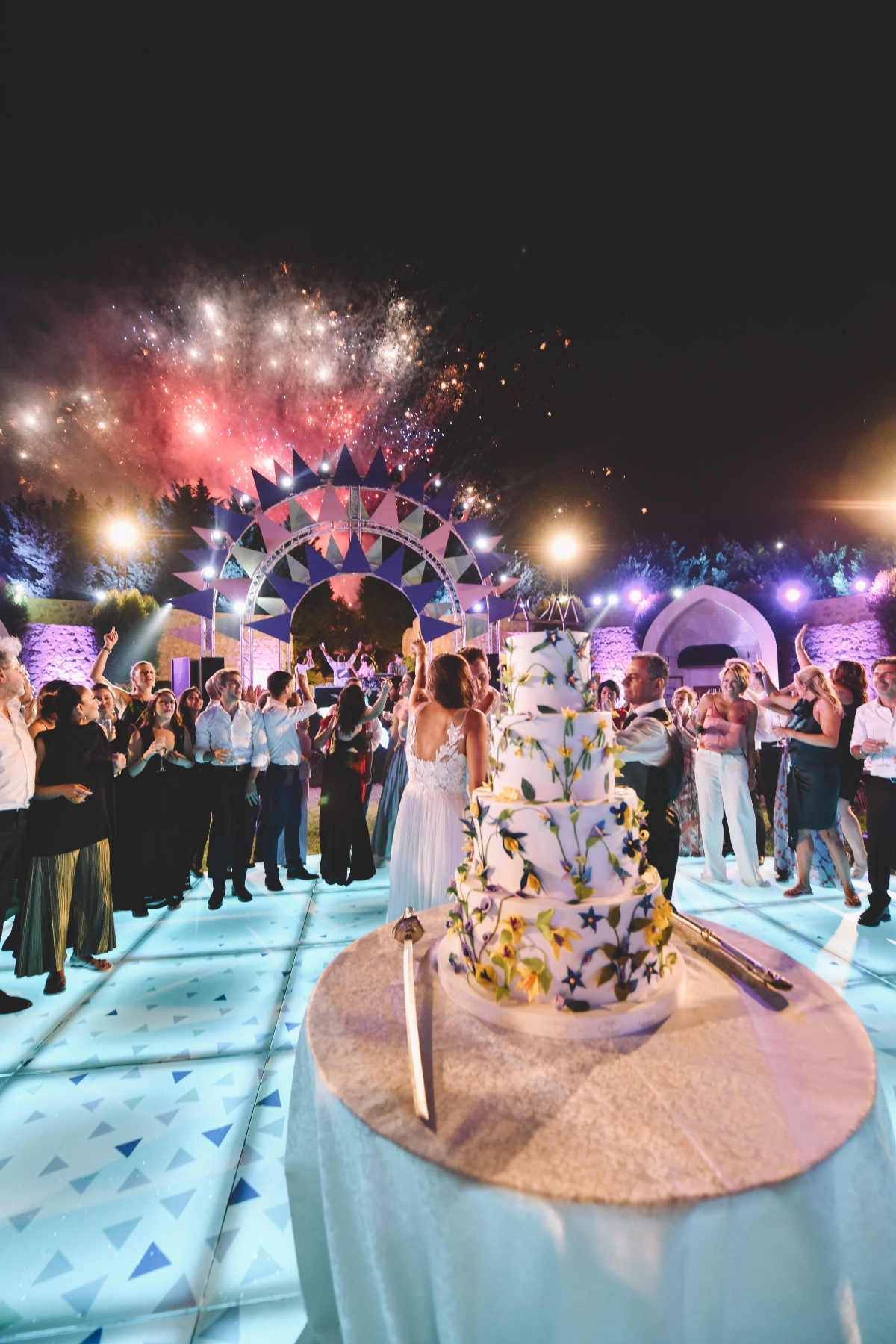 fireworks and cake cutting