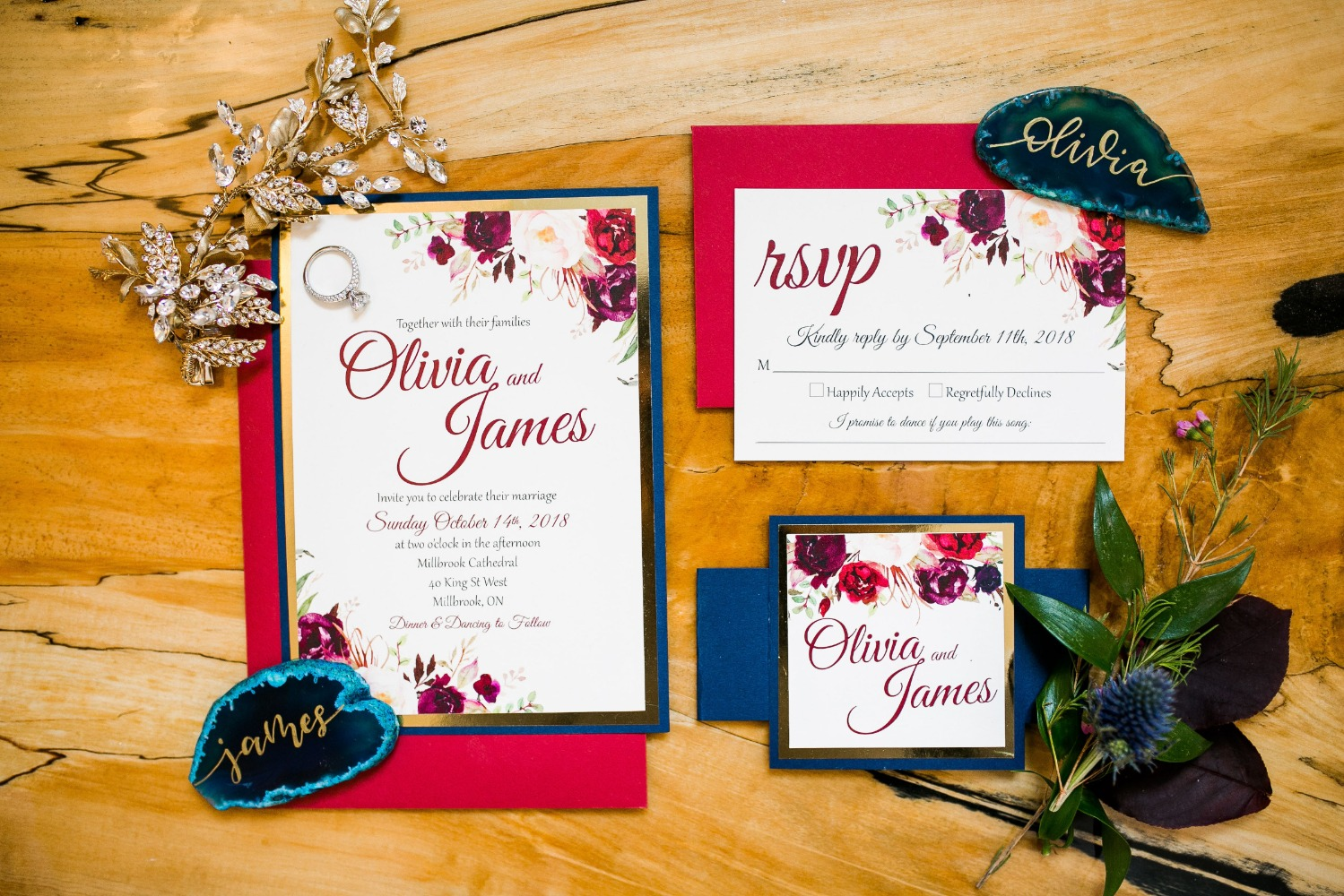 floral wedding invitation suite