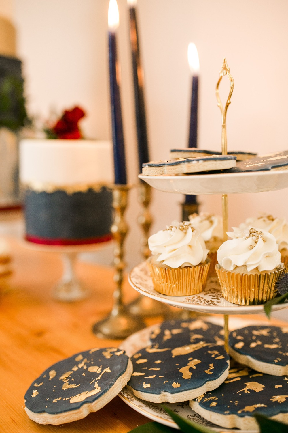 cupcakes and gold flake cookies
