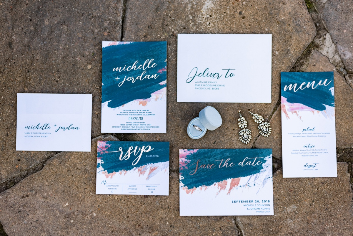 foil printed wedding invitation suite