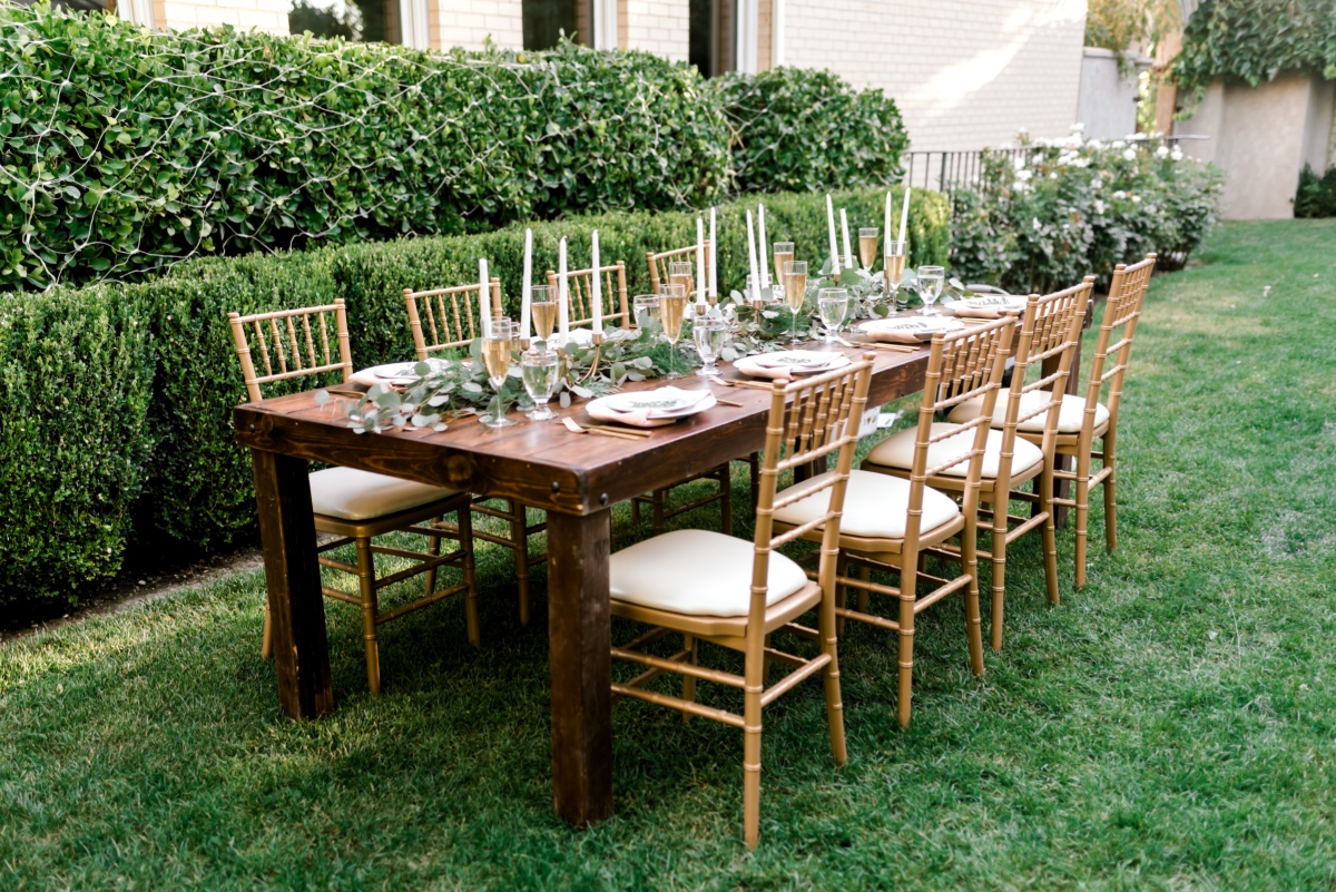gold and white garden wedding reception
