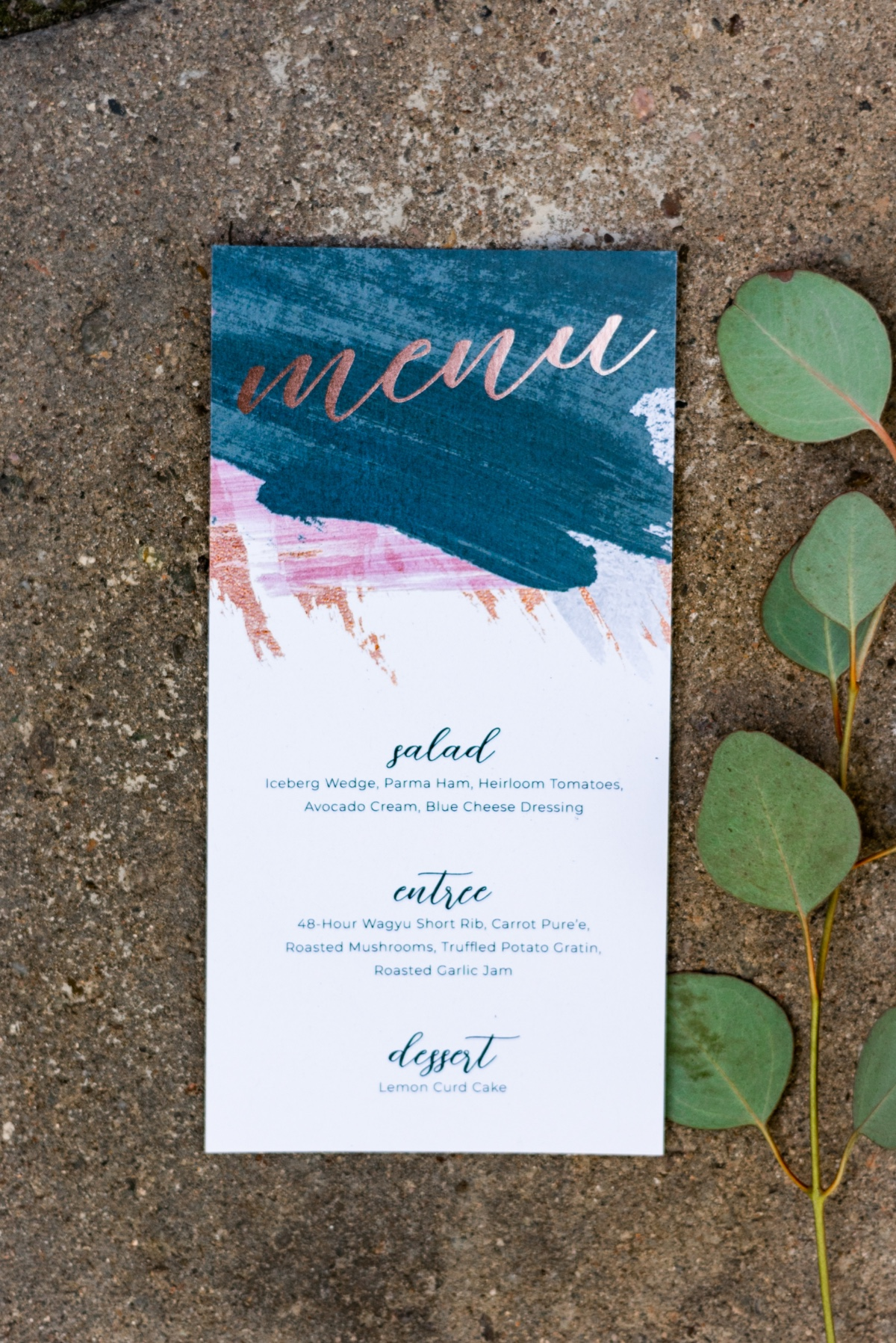 foil printed wedding menu