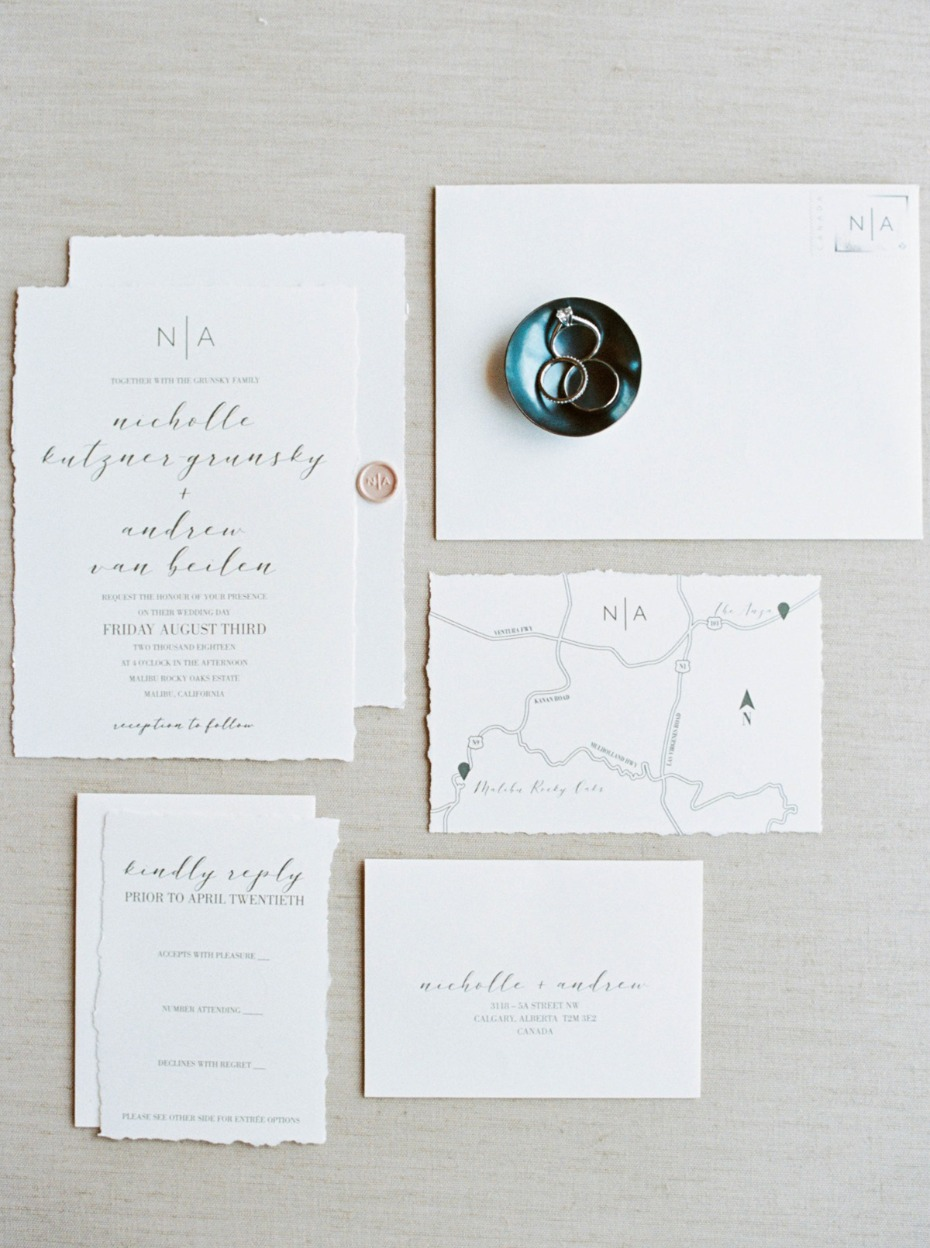 simple calligraphy wedding invitation suite