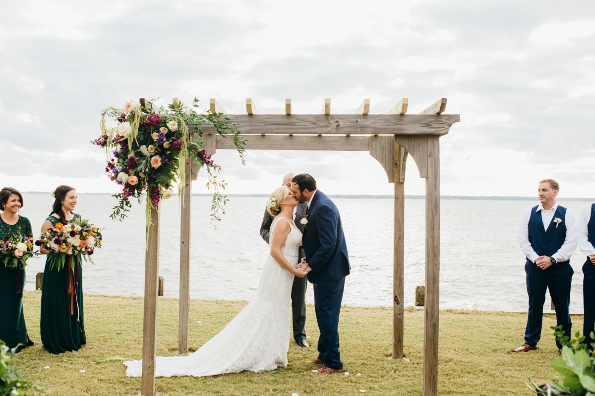 Rustic waterfront ceremony