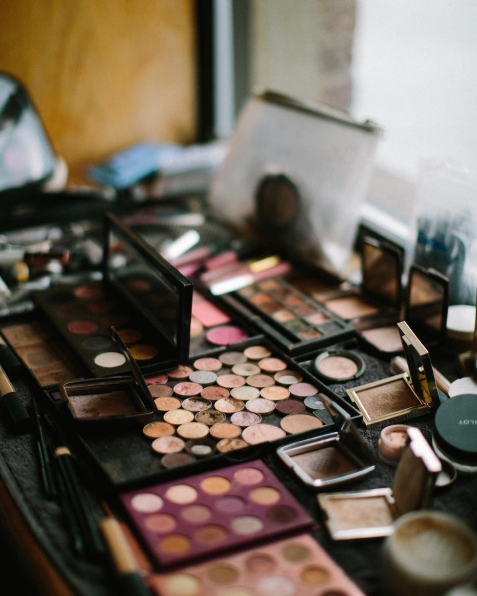 Makeup artist glam station at wedding