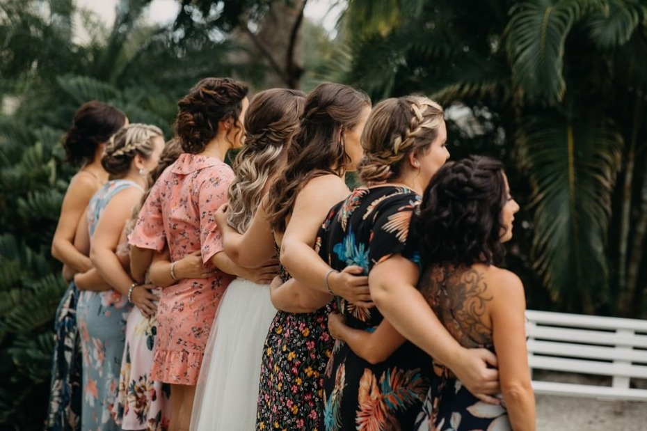 Bride and Bridesmaids All In a Row