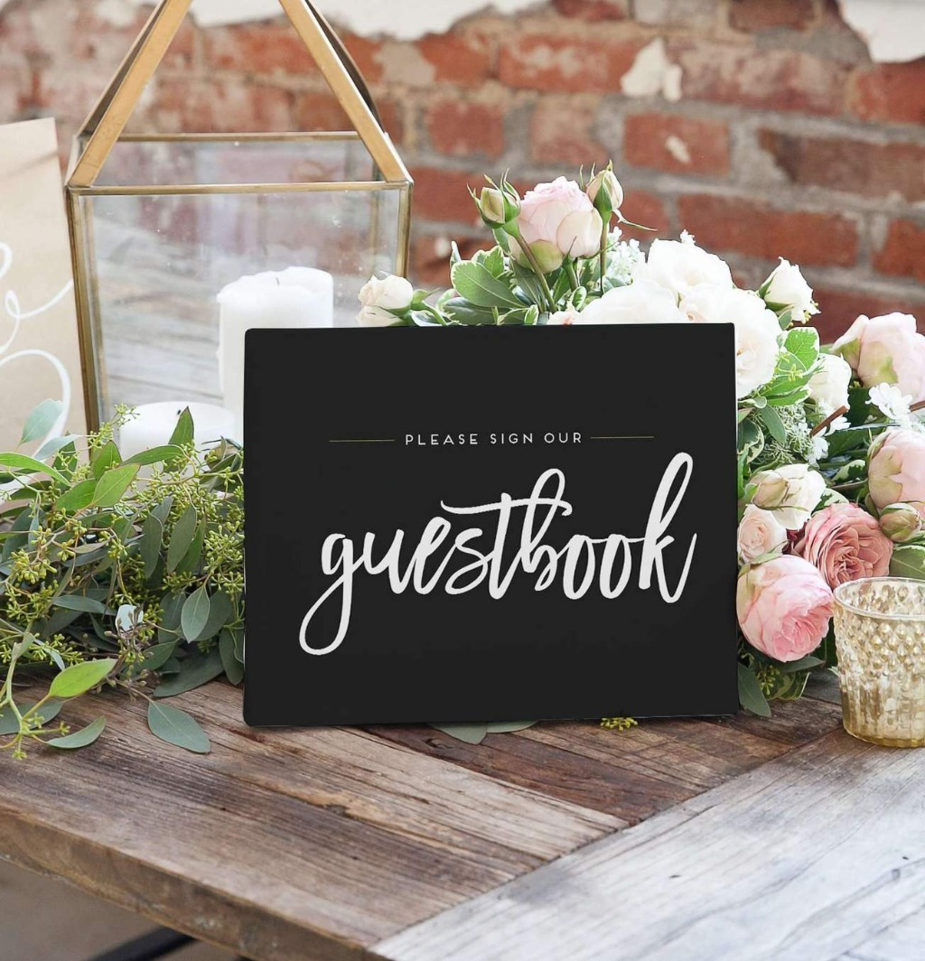 This Sign Our Guestbook Wedding Sign is the best way to let your guests know to sign your custom designed guest book alternative!!