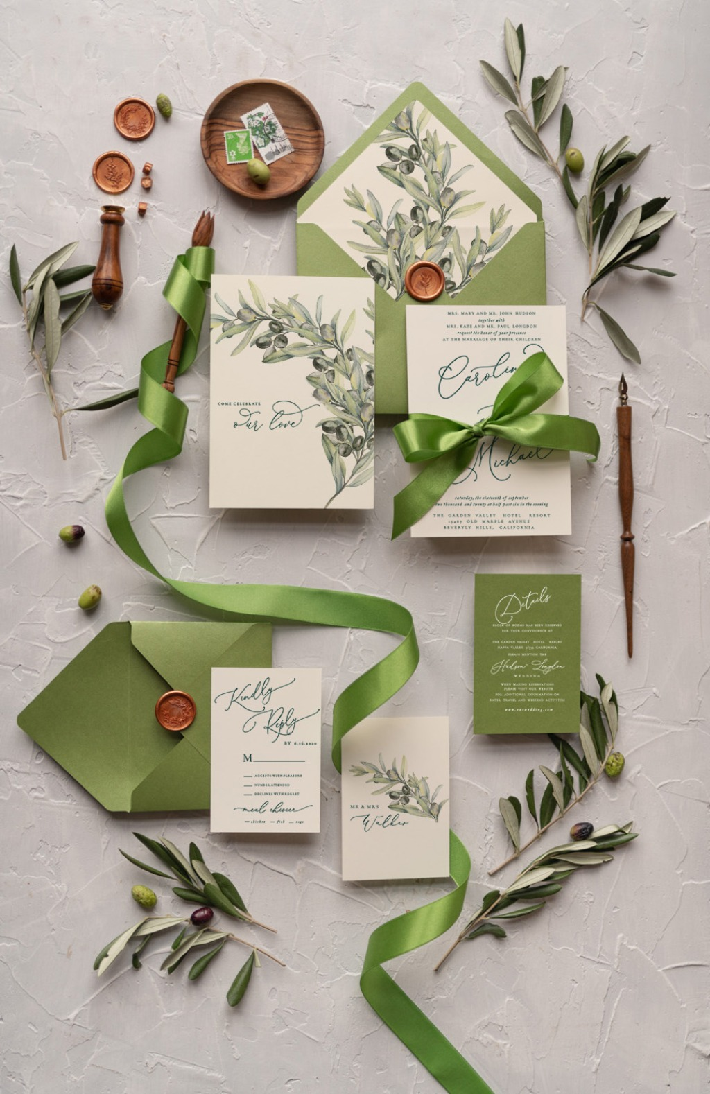 Wedding invitations with olives