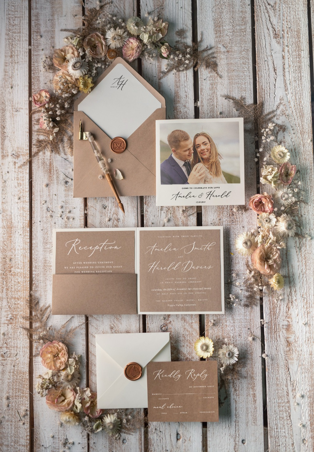 Wedding invitations with photo
