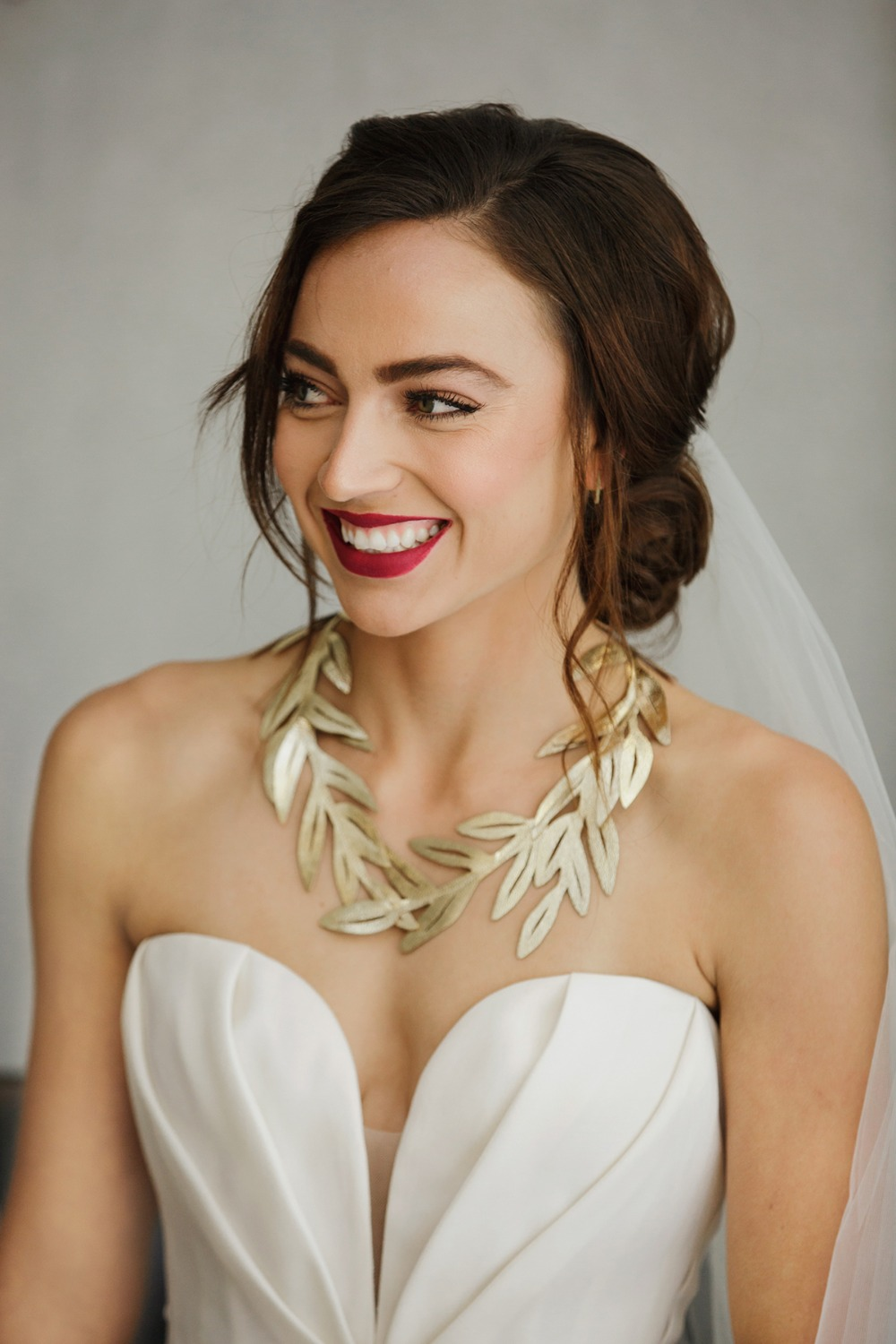 eucalyptus inspired wedding necklace