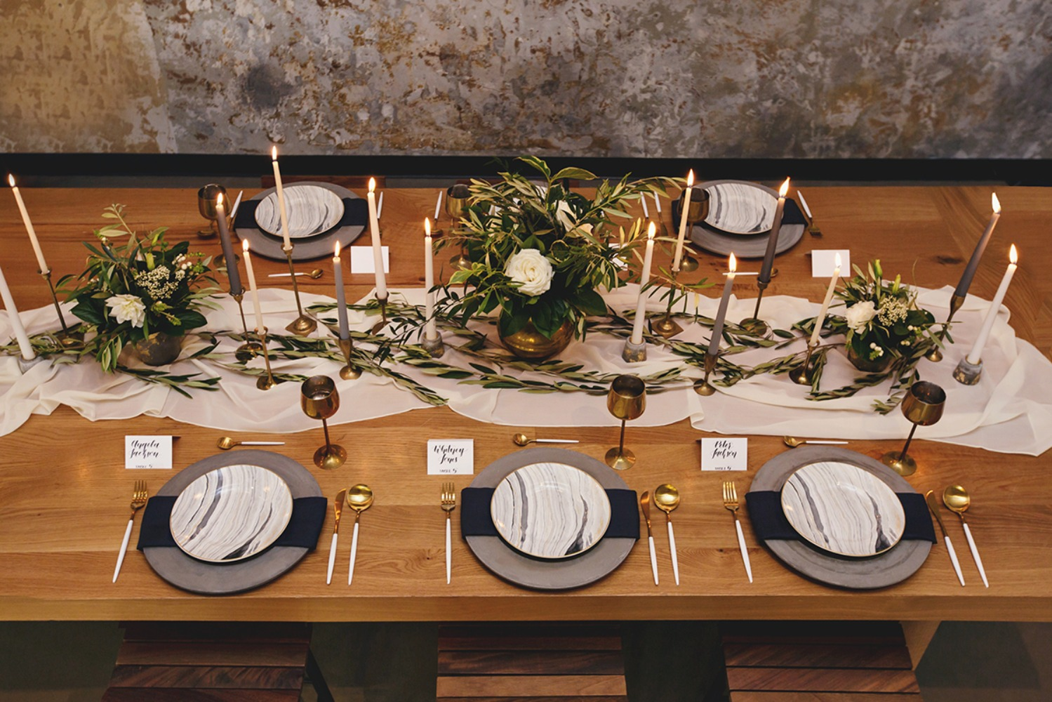 grey and white wedding table decor