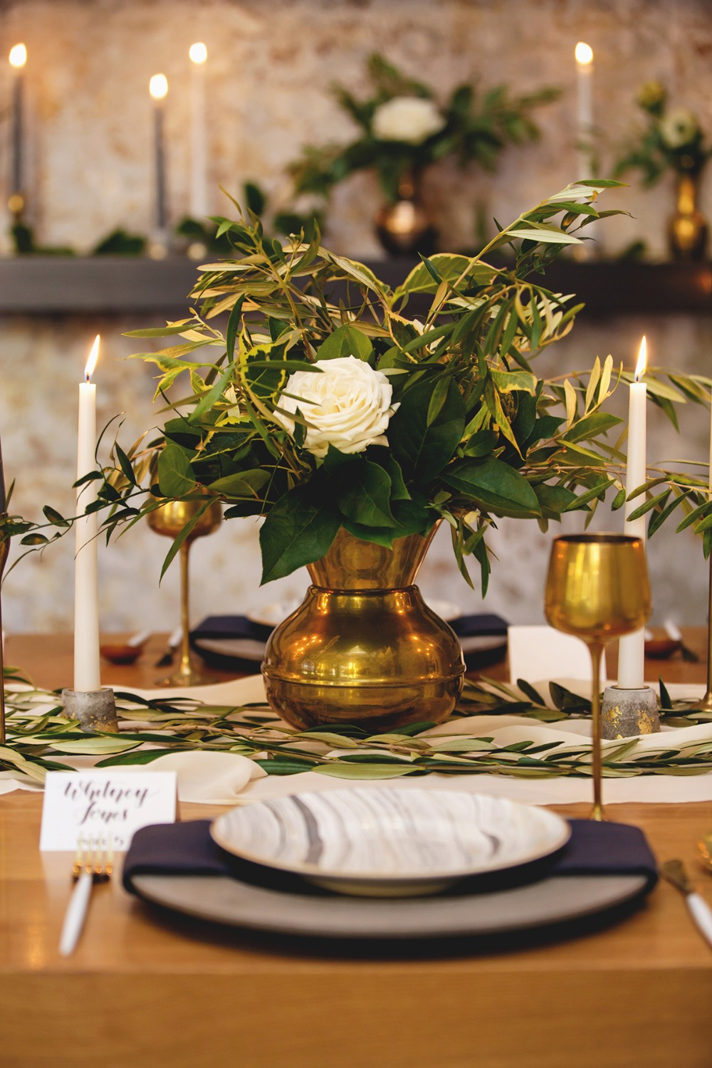 modern wedding decor with a vintage vibe