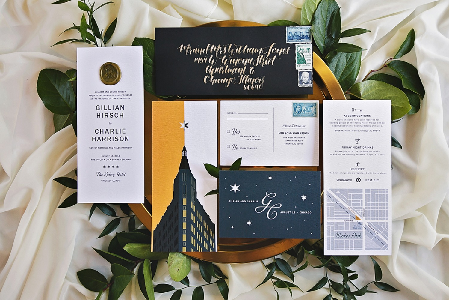 art deco inspired wedding invitation suite