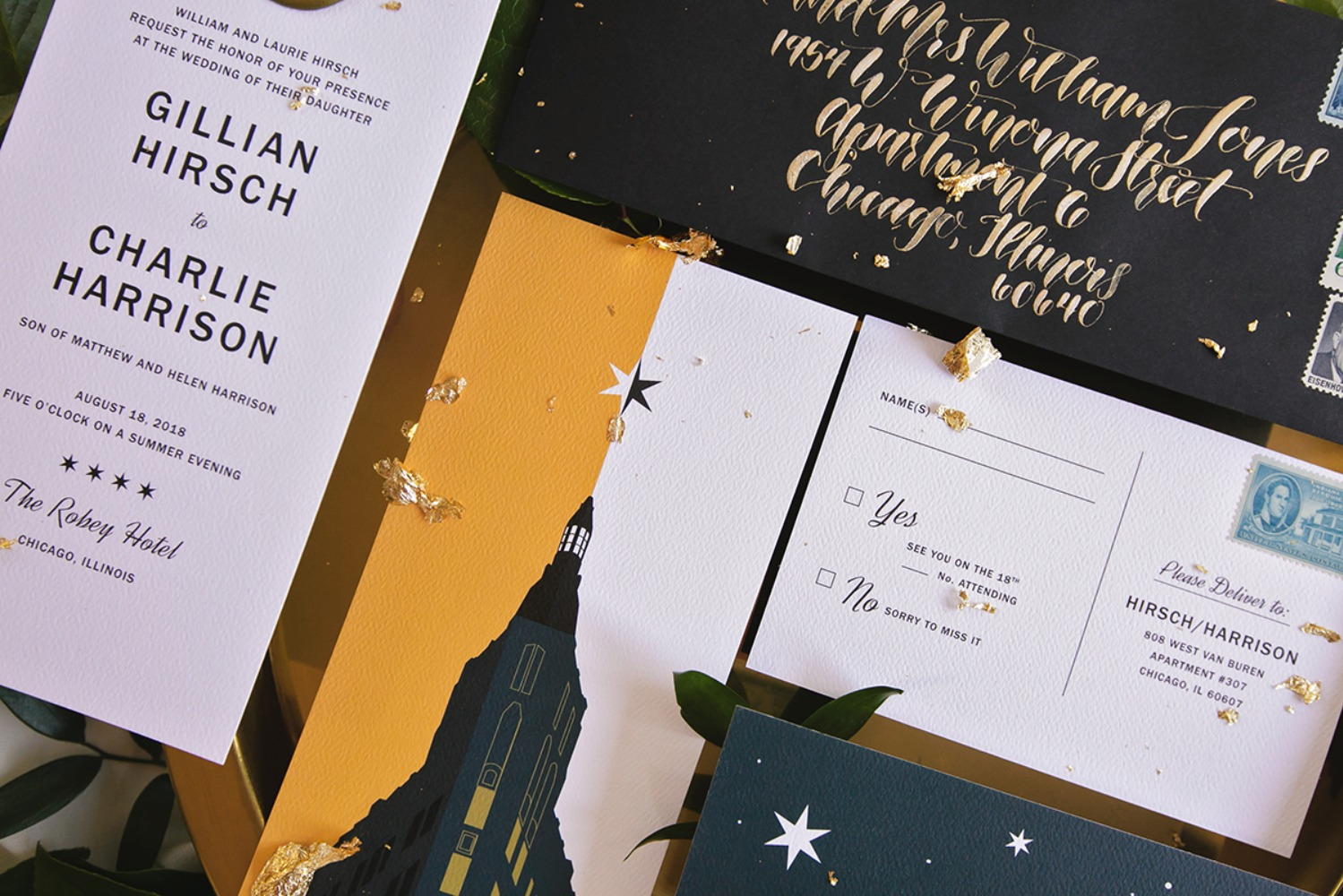 art deco inspired wedding invitations