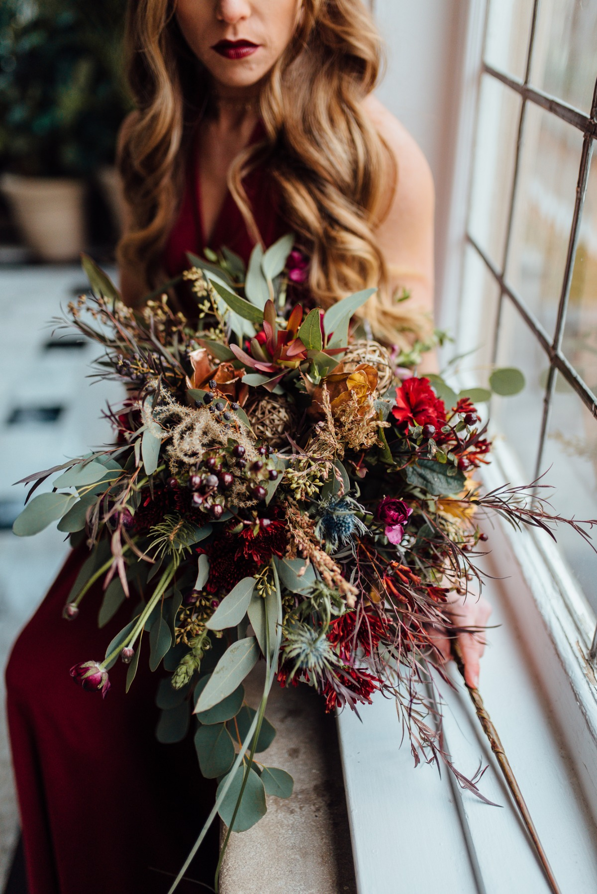 Christmas inspired wedding bouquet