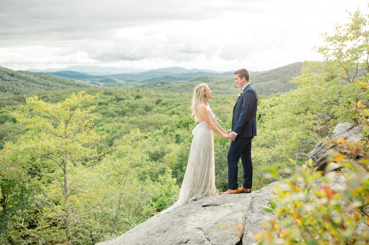 bride and groom in the Blue Ridge Mountains